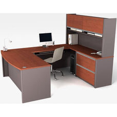 Connexion U-Shaped Workstation with Keyboard Shelf and CPU Platform - Bordeaux and Slate