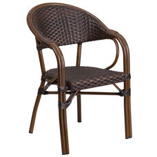 Milano Series Dark Brown Rattan Restaurant Patio Chair with Red Bamboo-Aluminum Frame