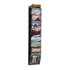 Safco® Onyx Mesh Literature Rack - Ten Compartments - 10-1/4w x 3-1/2d x 50-3/4h - Black