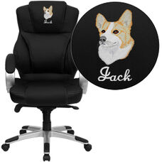 Embroidered High Back Black Leather Contemporary Executive Swivel Ergonomic Office Chair