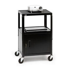 Adjustable Presentation Cabinet Cart with 6 Electrical Outlets