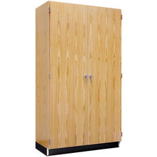 Science Lab Wooden Wall Locking Storage Case with 2 Fixed and 4 Adjustable Shelves - 48