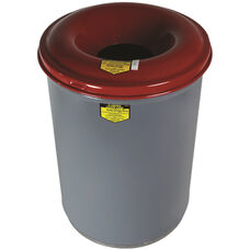 Cease-Fire® 30 Gallon Heavy Duty Waste Receptacles with Red Steel Head - Gray