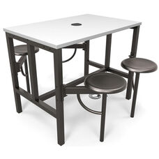 Endure Steel Frame Table with 4 Swivel Seats - Dry Erase White Table Top and Dark Vein Seats