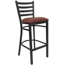 HERCULES Series Black Ladder Back Metal Restaurant Barstool - Burgundy Vinyl Seat