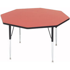 Adjustable Height Octagonal Laminate Top Utility Table - 48'' Diameter x 19''H - 29''H