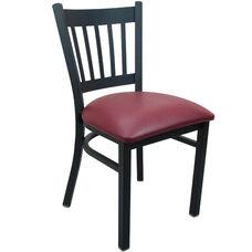 Advantage Black Metal Vertical Slat Back Chair - Burgundy Padded