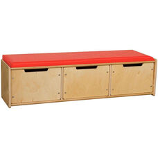 Contender Wooden Reading Bench with 3 Drawers - Assembled - 46.75