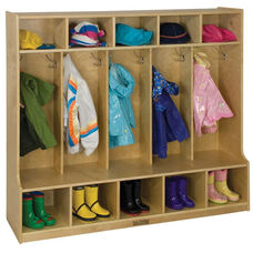 Birch Hardwood Five Section 10 Hook Coat Locker with Bench and 10 Cubbies