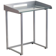 Contemporary Desk with Clear Tempered Glass and Silver Metal Frame
