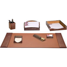 Crocodile Embossed Leather 7 Piece Desk Set - Brown