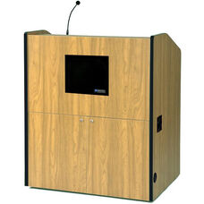 Multimedia Wired 150 Watt Sound Smart Podium - Maple Finish - 48.5