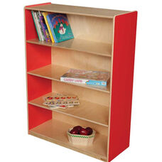 Wooden 4 Fixed Shelf Bookcase with Plywood Back - Strawberry - 36