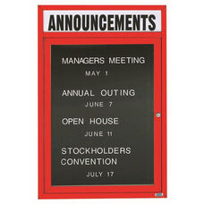 1 Door Indoor Illuminated Enclosed Directory Board with Header and Red Anodized Aluminum Frame - 48