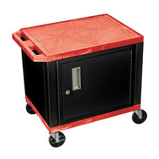 Red Tuffy Plastic Cart with Cabinet and Black Legs