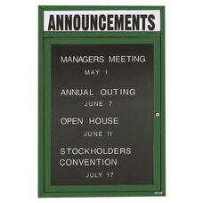 1 Door Outdoor Enclosed Directory Board with Header and Green Anodized Aluminum Frame - 24