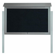 Light Gray Top Hinged Single Door Plastic Lumber Message Center with Letter Board and Post