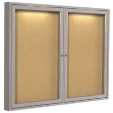 Satin Aluminum Frame 2-Door Enclosed Natural Cork Bulletin Board - Concealed Lights - 36