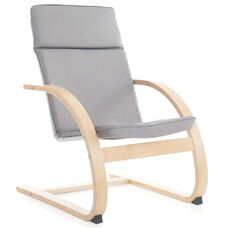Nordic Rocker with Removable Cushion and Steam-Bent Plywood Construction - Gray - 20