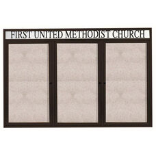 3 Door Outdoor Illuminated Enclosed Bulletin Board with Header and Black Powder Coated Aluminum Frame - 48