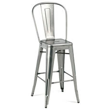Dreux Gunmetal High Back Steel Counter Stool - Set of 4