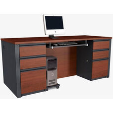 Prestige + Executive Desk Set with Keyboard Shelf and CPU Platform - Bordeaux and Graphite