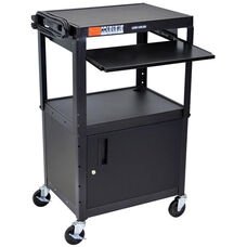Adjustable Height Multi-Media Steel A/V with Locking Cabinet - Black - 24