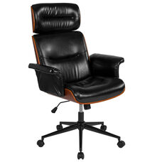 Contemporary Black Leather High Back Walnut Wood Executive Swivel Office Chair
