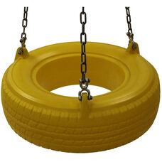 Colored Plastic Tire Swing Seat with Three Metal Attachments