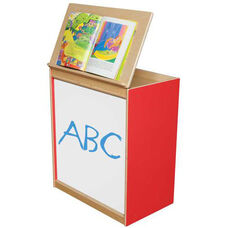 Strawberry Red Big Book Display and Storage with Locking Piano Hinged Top with Marker Board on Front - Assembled - 24