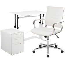 3 Piece Office Set - White Adjustable Computer Desk, LeatherSoft Office Chair and Inset Handle Locking Mobile Filing Cabinet