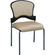 Pro-Line II Armless Upholstered Contour Back Stacking Visitors Chair with Titanium Finish Frame - Camel