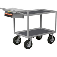 Instrument Cart With 2 Vinyl Shelves And Storage Pocket with Writing Shelf