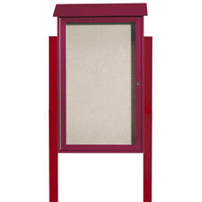 Rosewood Single Hinged Door Plastic Lumber Message Center with Vinyl Surface and Post