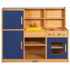 Colorful Essentials 4 in 1 Kitchen Play Station with Interior and Exterior Storage - Blue