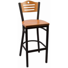 Eagle Series Wood Back Armless Barstool with Steel Frame and Wood Seat - Natural