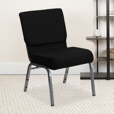 HERCULES™ Series Auditorium Chair - Stacking Padded Chair - 21inch Wide Seat - Black Fabric/Silver Vein Frame