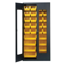 Clear-View Security Bin Cabinet with 18 Bins - Yellow
