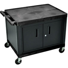 2 Shelf High Open A/V Utility Cart with Locking Cabinet - Black - 32
