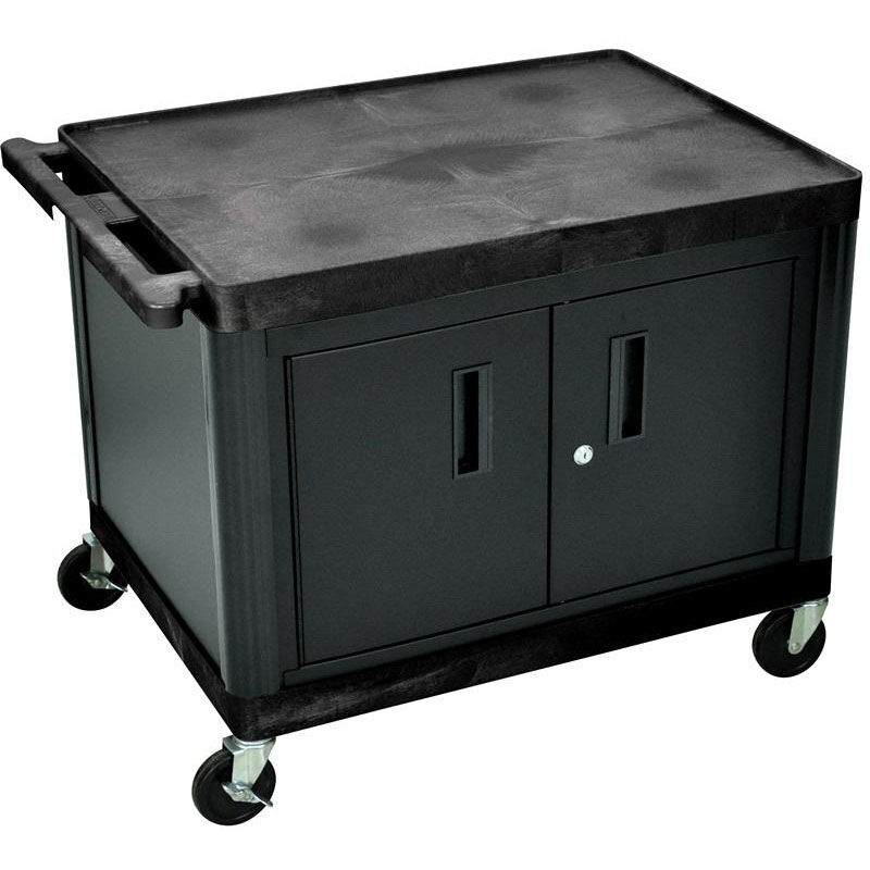 ... Our 2 Shelf High Open A/V Utility Cart With Locking Cabinet   Black