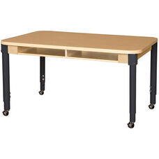 Mobile Two-Seater Classroom High Pressure Laminate Desk with Adjustable Steel Legs - 48