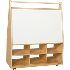 Wooden Book and Art Display Storage Unit with 6 Cubby Storage Compartments - 36