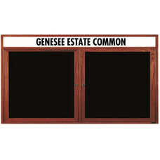 3 Door Enclosed Changeable Letter Board with Header and Cherry Finish - 36