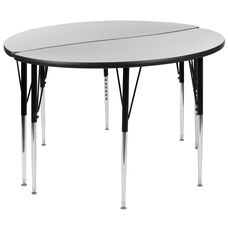 """2 Piece 47.5"""" Circle Wave Collaborative Grey Thermal Laminate Activity Table Set - Standard Height Adjustable Legs"""