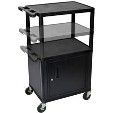 3 Shelf Height Adjustable Mobile A/V Utility Cart with Locking Cabinet - Black - 24