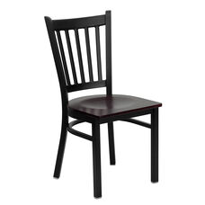 Black Vertical Back Metal Restaurant Chair with Mahogany Wood Seat