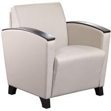 Dialogue Lounge Chair with Arm Caps and Wood Feet - Vinyl Upholstery