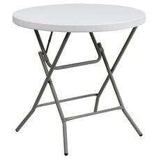 2.63-Foot Round Granite White Plastic Folding Table