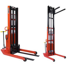 Powered Telescoping Fork Model Stacker With Adjustable Width Base And 24