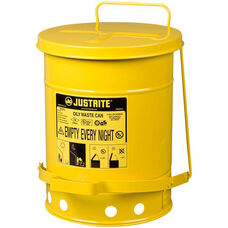 6 Gallon Steel Foot-Operated Oily Waste Can - Yellow
